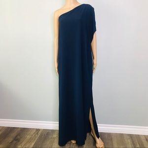 One shoulder navy blue maxi dress